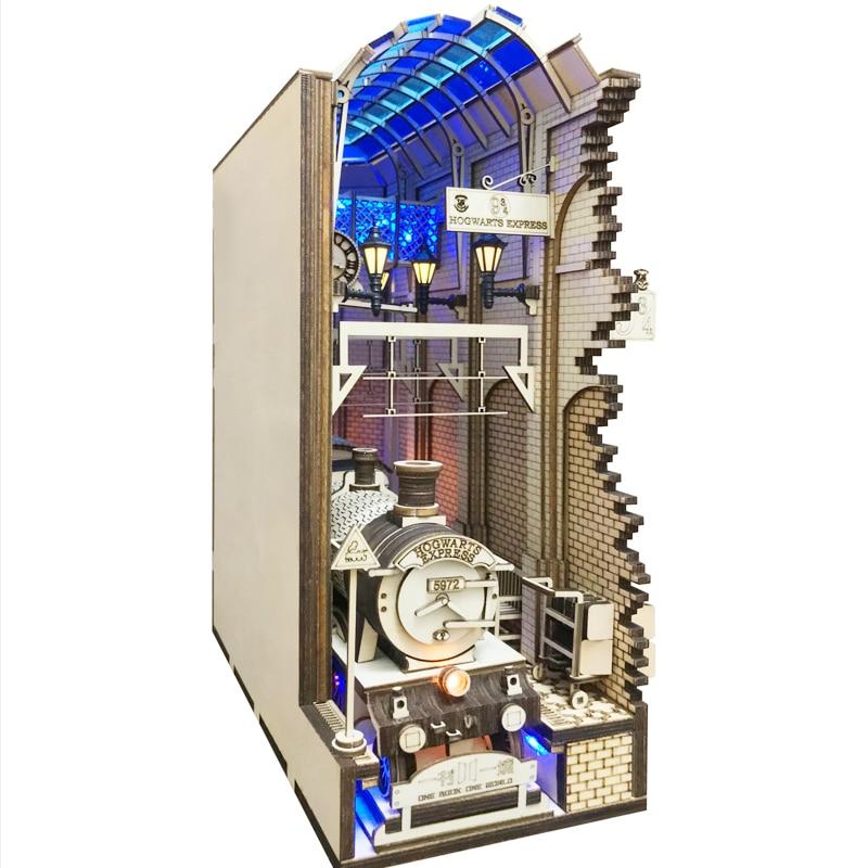 خزانة كتب خشبية Diagon Alley ، خزانة كتب ، نموذج محطة سكة حديد ، مجموعة بناء ، ديكور غرفة ، هدية مصنوعة يدويًا ، DIY