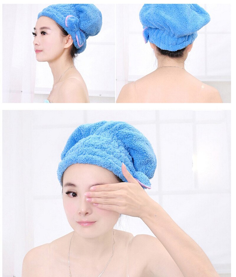 New Beauty Shower Bathing Quick Dry Hair Drying Hat Cap Bath Microfiber Fabric Cap Bathing Accessori