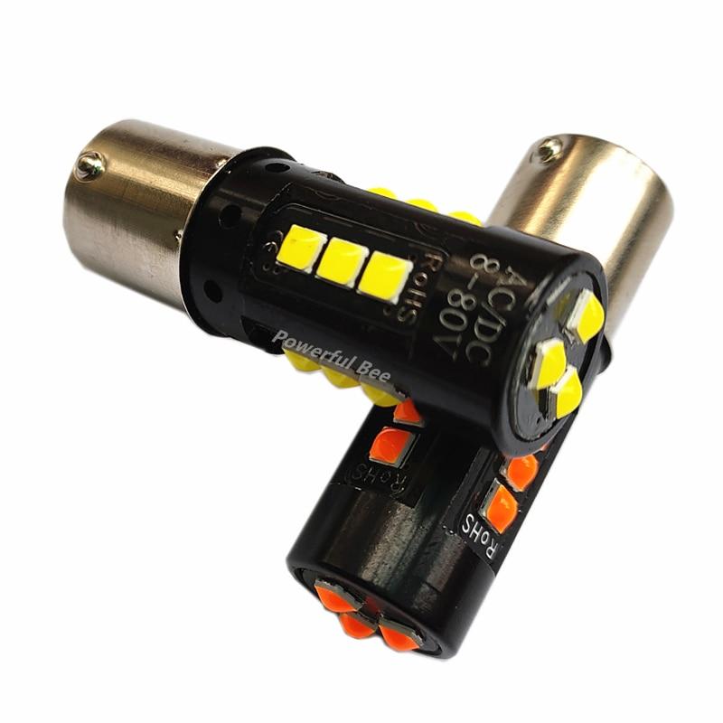 2 x nuevo 30W potencia coche motocicleta camión autobús 1156/BA15S/P21W LED reverso DRL luces de freno blanco ámbar amarillo AC/DC12-80V