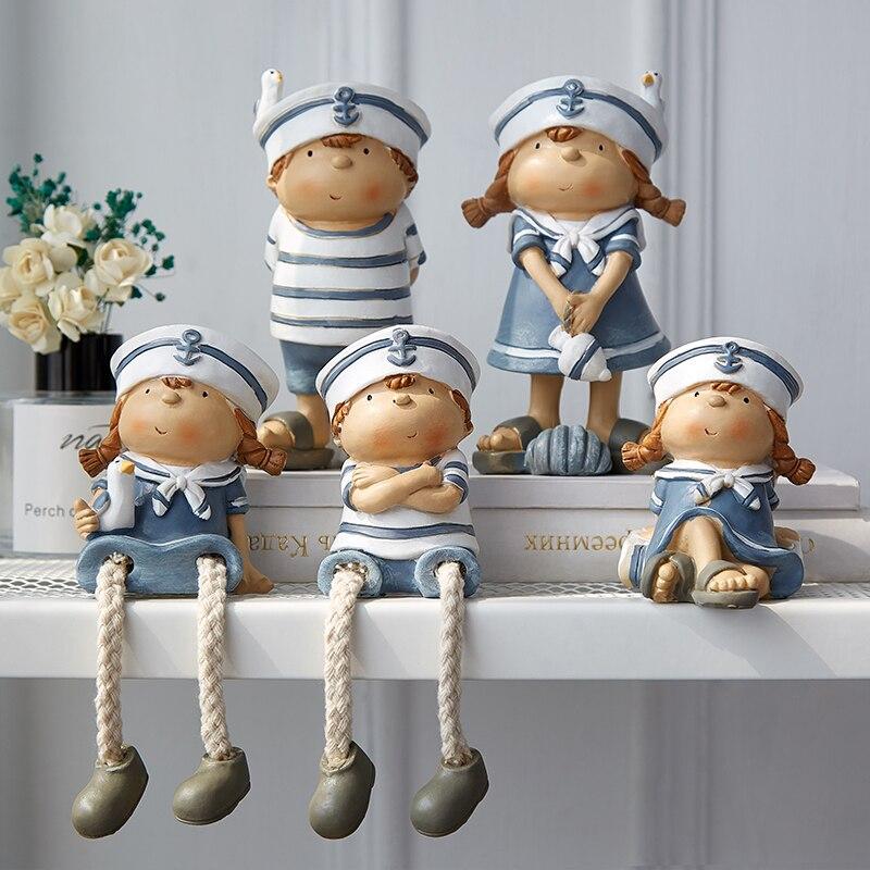2 unids/set estilo mediterráneo creativo colgante de pared pie muñeca artesanía de resina colgante muñeca con piernas elfo figuritas de muñecas decoración del hogar