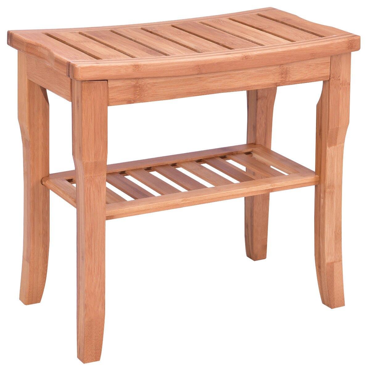 Giantex الخيزران كرسي استحمام مقعد مقعد الحديثة الخشب الحمام سبا حمام المنظم البراز مع تخزين الرف BA7268