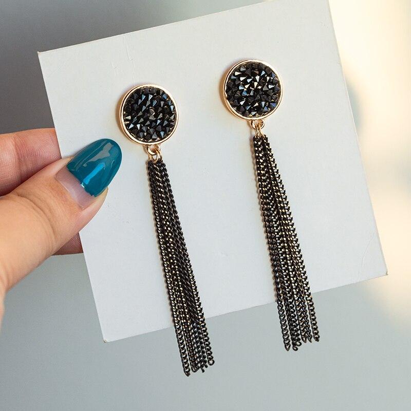BLINLA nueva moda cristal negro plateado borla cuelgan pendientes colgantes para mujeres coreanos pendientes largos con diamante de imitación joyería