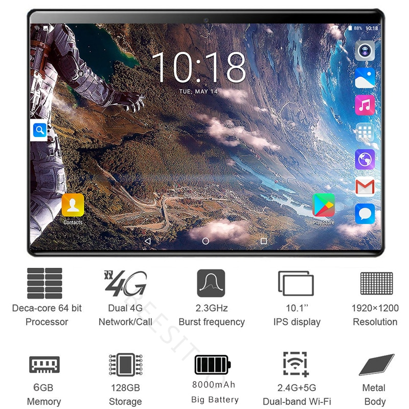 2021 Global 10 inch Dual Sim 4G LTE Tablet PC Deca Core 6GB RAM 128GB ROM 1920*1200 IPS 2.5D Android