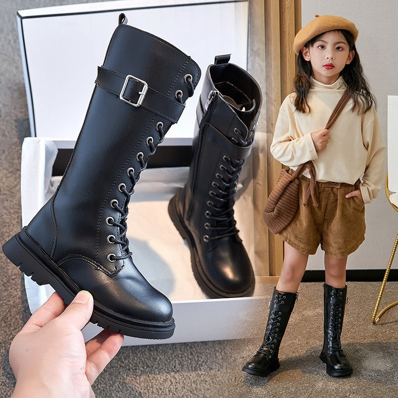Real Microfiber Girls Boots Plus Cashmere Girls Winter New Middle-aged Children's Long Tube Martin Boots Children's High Boots