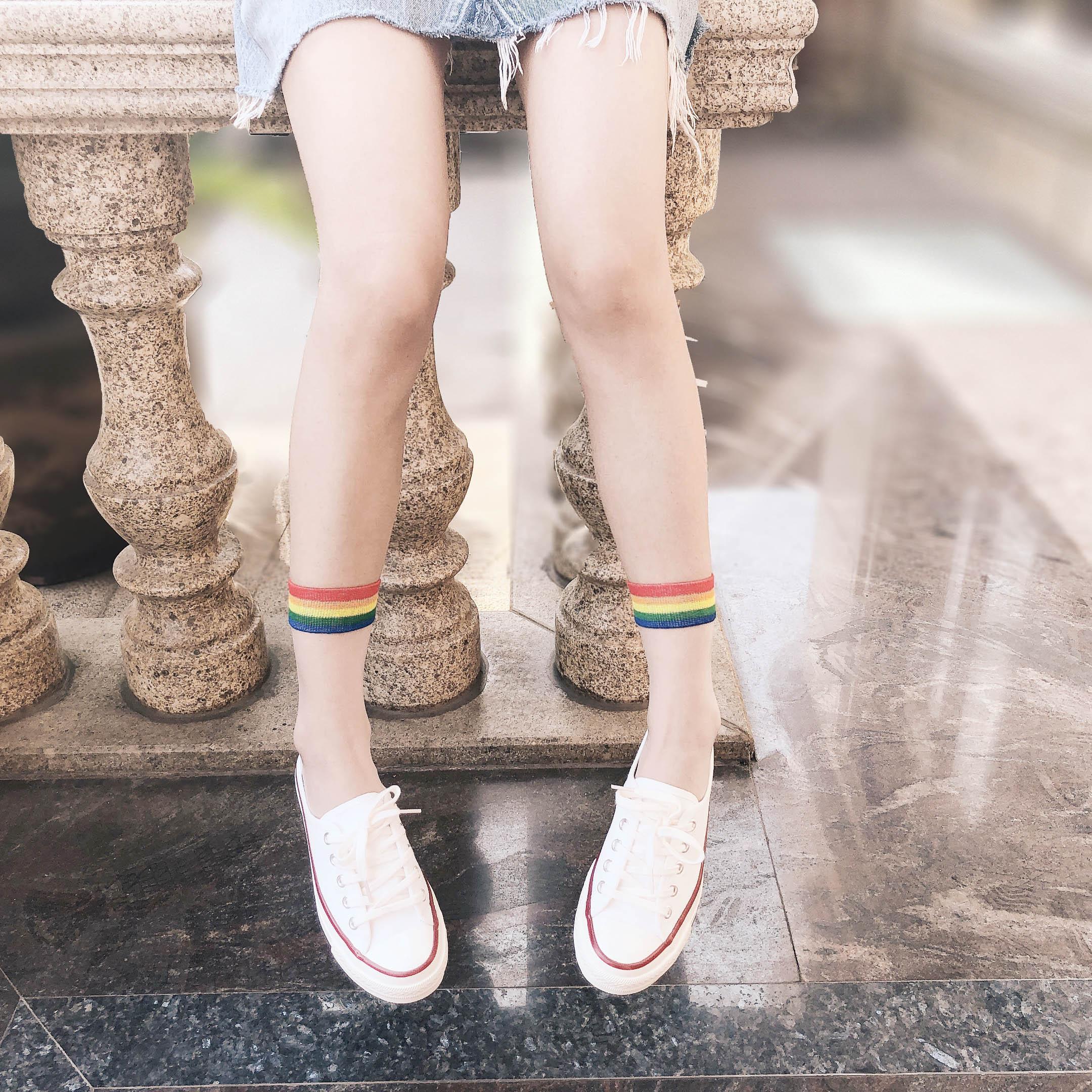 Women socks Spring summer sexy rainbow stripe Kawaii Harajuku Fresh Japenese Korean Style Art cool Happy Short tulle socks