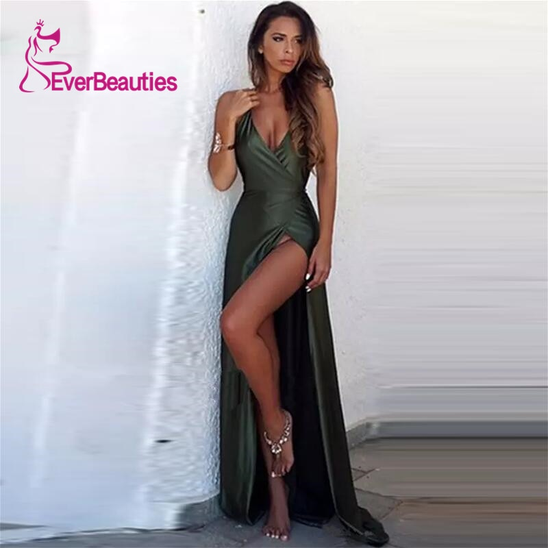 Sexy Backless Evening Dresses Long Satin Party Gowns Party Vestidos Robe De Soiree Evening Abendkleider Formal Dress Woman недорого