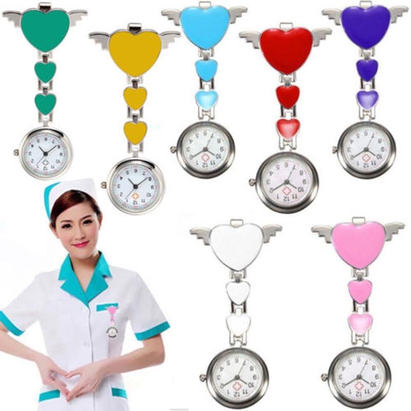 Krankenschwester Tasche Uhren Runden Zifferblatt Quarz Engel Band Brosche Arzt Hängen Uhren H9