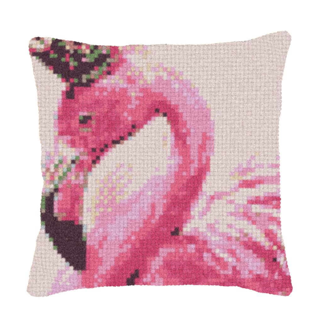 Trava Kit Gancho Coxim Mat Travesseiro DIY Artesanato Flamingo Padrão do Ponto da Cruz Needlework set Crochê Almofada travesseiro bordado