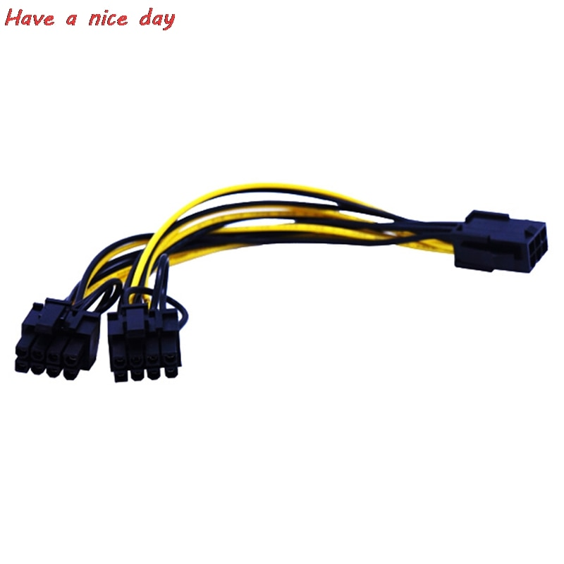 6 12pcs pci e adapter cable 6pin to dual 8pin splitter cable computer accessories pci e converter cord dropshipping supported 22cm Miner Cables CPU 8Pin to Graphics Video Card Dual PCI-E PCIe 8Pin ( 6Pin + 2Pin ) Power Supply Splitter Cable Cord