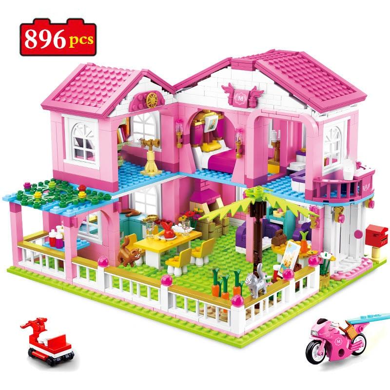 896pcs City Girl Friends Big Garden Villa Model Building Blocks Brick Technic Yacht Playmobil Toys For Children Gifts