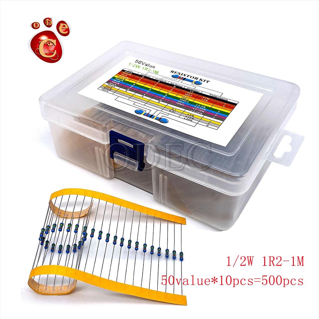 1/2W metal film resistance pack 1.2R-1M 50value*10=500pcs
