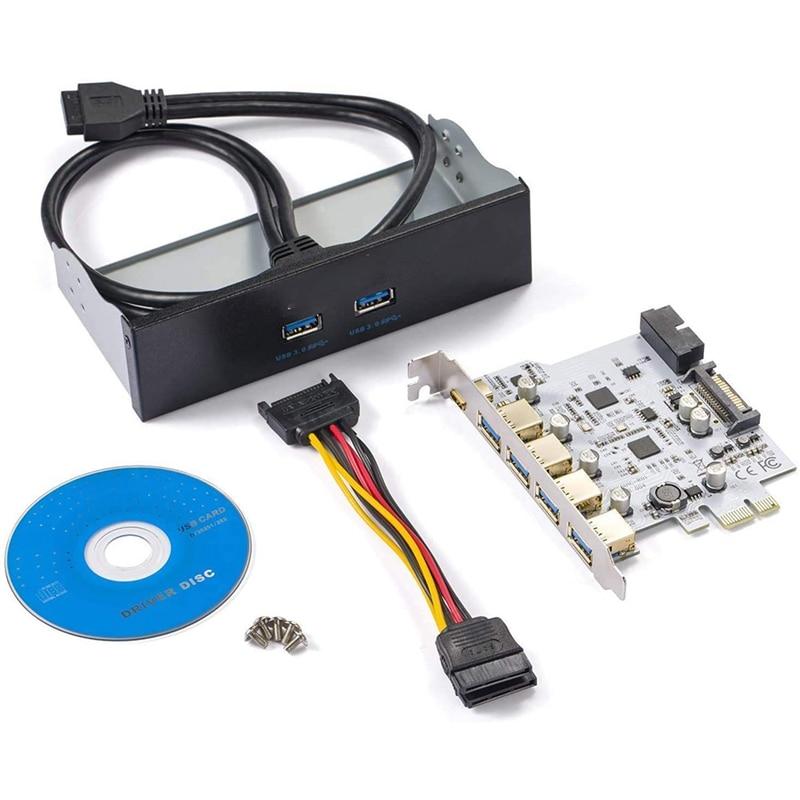 7 منافذ PCI-E إلى USB 3.0 سرعة بطاقة الطرد تصل إلى 5Gbps ، مع كابل الطاقة SATA ، خليج اللوحة الأمامية وكابلات الطاقة