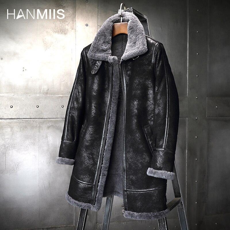معطف من الفرو من HANMIIS طراز B3 ، معطف من جلد الغنم للرجال ، جاكيت منفوخ ، ملابس للرجال ، معطف للدراجات النارية