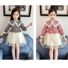 Baby Kids Girls Dress Children Doll Collar Clothes Long Sleeve Formal Lace Tulle Plaid Party Princes