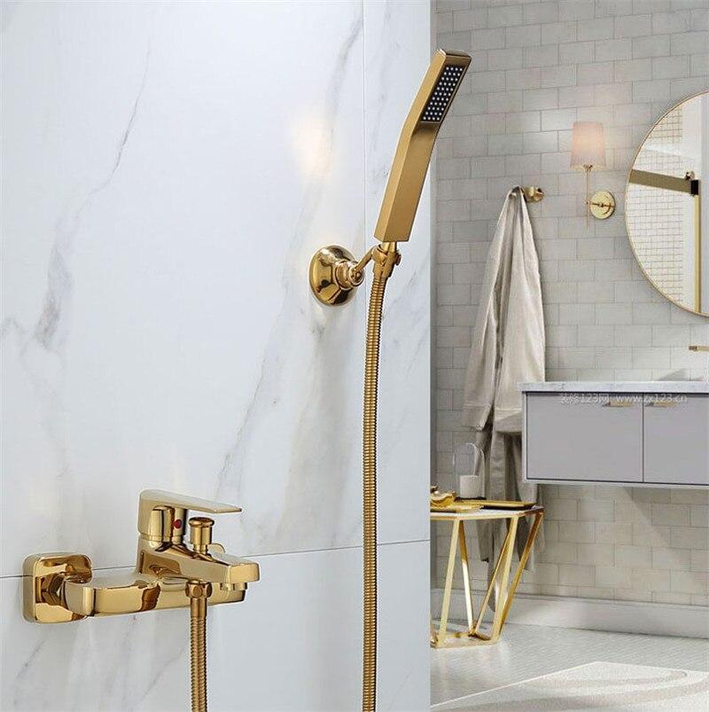 Tuqiu-مجموعة دش الحمام المثبتة على الحائط ، صنبور دش ودش ذهبي ، حمام بارد وساخن وحنفية خلاط نحاسية