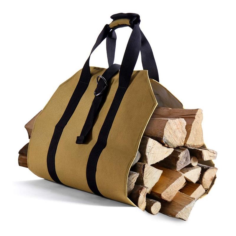 Bolsa grande de lona para troncos, bolsa de transporte para chimenea interior, bolsas para leña, portadores de leña para uso en exteriores, encerado, duradero