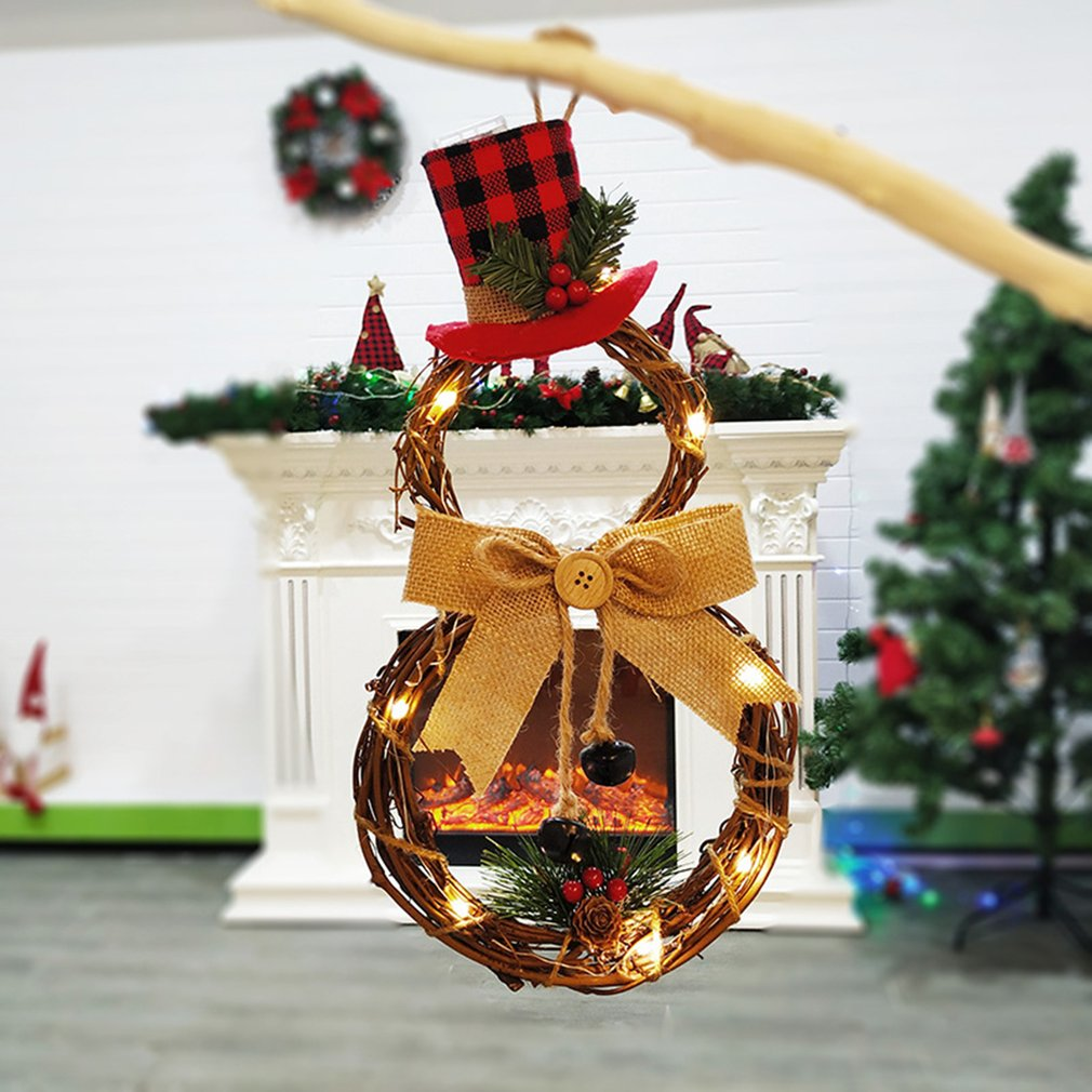 15.8 Christmas Wreath Hanging Decor Cute Xmas Snowman Garland for Christmas Party Decor Ornaments Holiday Wreath for Home christmas garland rattan with christmas ornaments for christmas xmas decoration home warm white lighting shop window display