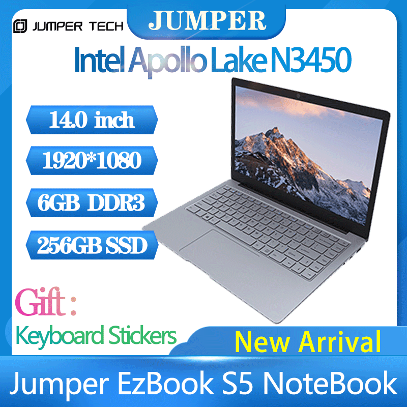 2021 Tablets Windows 10 home Jumper EZbook S5 Laptop  Portable ultrabook 14.0 Inch 8GB Ram 256GB SSD 1920*1080 4600mAh notebook