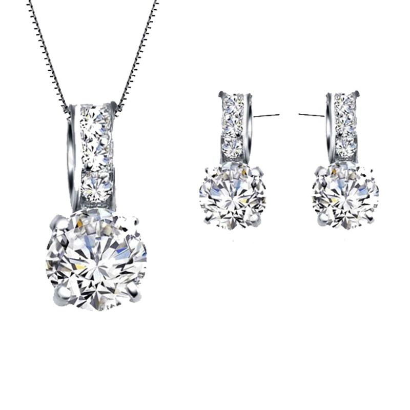 AliExpress - European Brand 925 Sterling Silver Rainestone Pendant  Necklace/Earring Women Jewelry Sets Wholesale