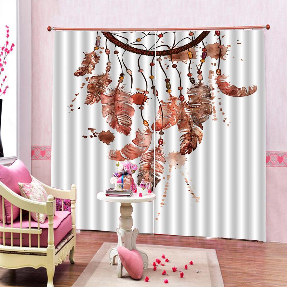 Cortinas de plumas personalizadas pintura al óleo acuarela vibrante sueño elementos ornamentales diseño ventana cortinas para sala de estar dormitorio
