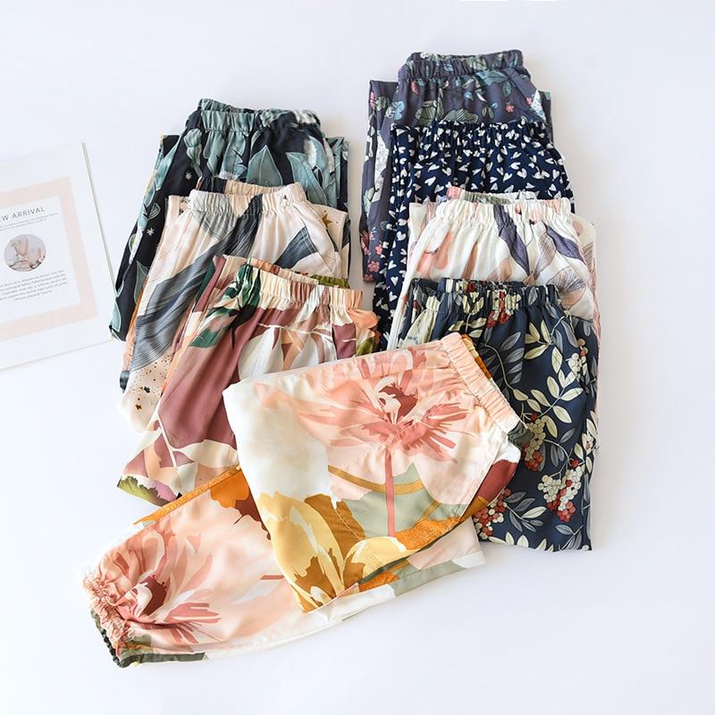 Summer Viscose Rayon Printing Women Pajama Bottoms Elastic Waist Ankle-Length Pants Sleep Wear Women Lounge Wear Closing Pants