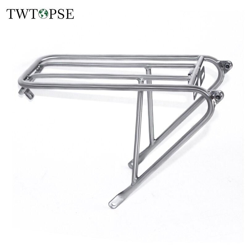 TWTOPSE, bastidores estándar para bicicleta de Ciclismo de titanio de 275g para bicicleta plegable Brompton, estante para bicicleta plegable con freno de disco C V, bastidores de carga de ruedas fáciles de 112mm