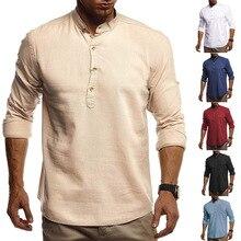 Médiéval Vintage lin chemise col montant été Pirate propriétaire tunique mode africaine décontracté mâle Performance ensemble de fête