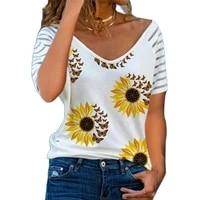 women tshirt vneck ladies casual short sleeve top stripe loose floral print female printed shirt fashion sexy plus size clothing