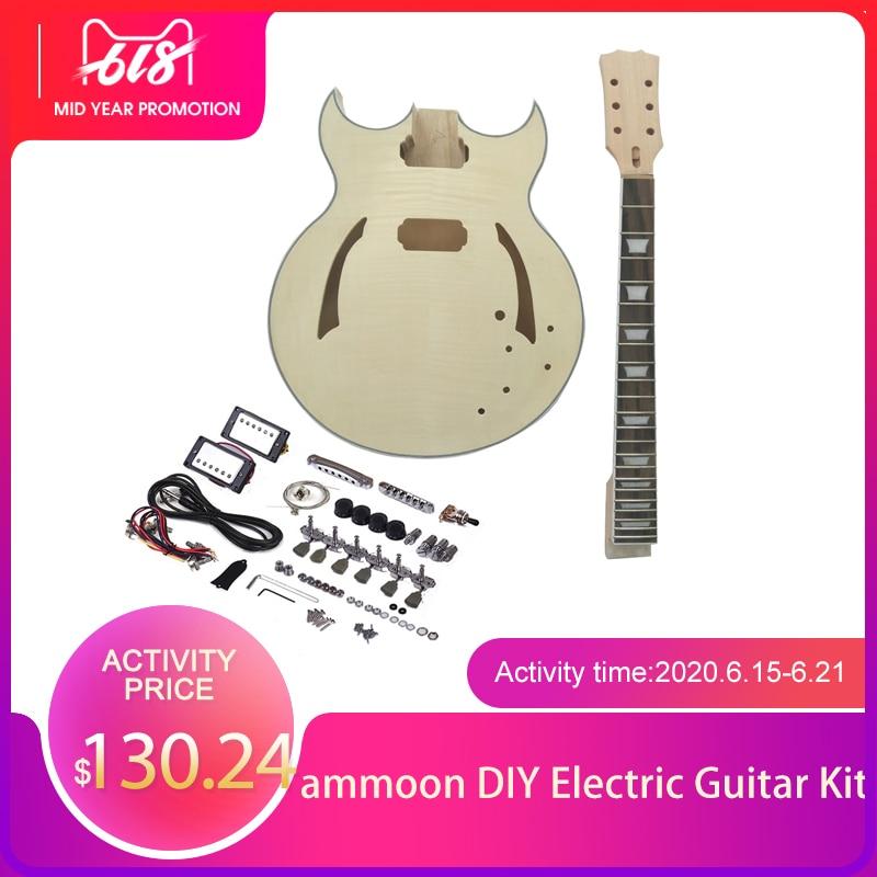 Hohe qualität ammoon Unfinished DIY Elektrische Gitarre Kit Semi Hohl Linde Korpus Palisander Griffbrett Ahorn Hals