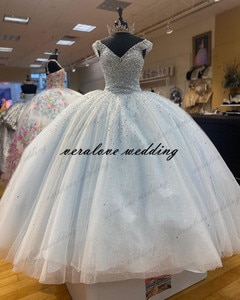 Light Blue Off Shoulder Beads Princess Quinceanera Dress Ball Gown Sweet 15 Party Gowns Appliques Lace Custom Mexican Prom Dress