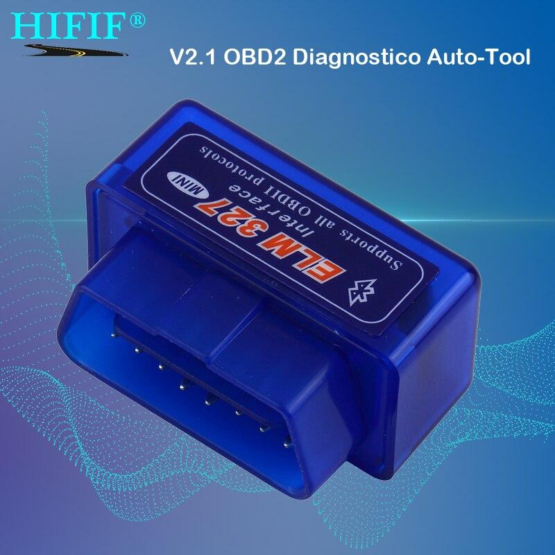 Mini ELM327 interfaz Bluetooth 2,0 V2.1 OBD2 OBD 2 herramienta de diagnóstico automático ELM 327 funciona en par Android/PC v 2,1 adaptador BT
