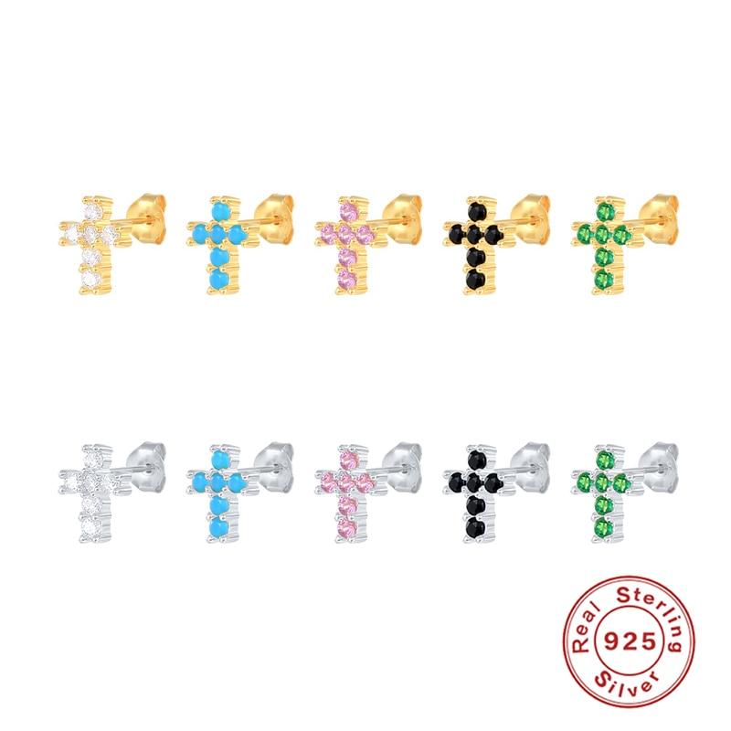 Romad-Pendientes Piercing de Plata de Ley 925 auténtica para mujer, joyería colorida...