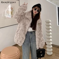 autumn loose thicken turndown collar solid soft faux rabbit fur coat women plus size long sleeve warm winter outerwear female