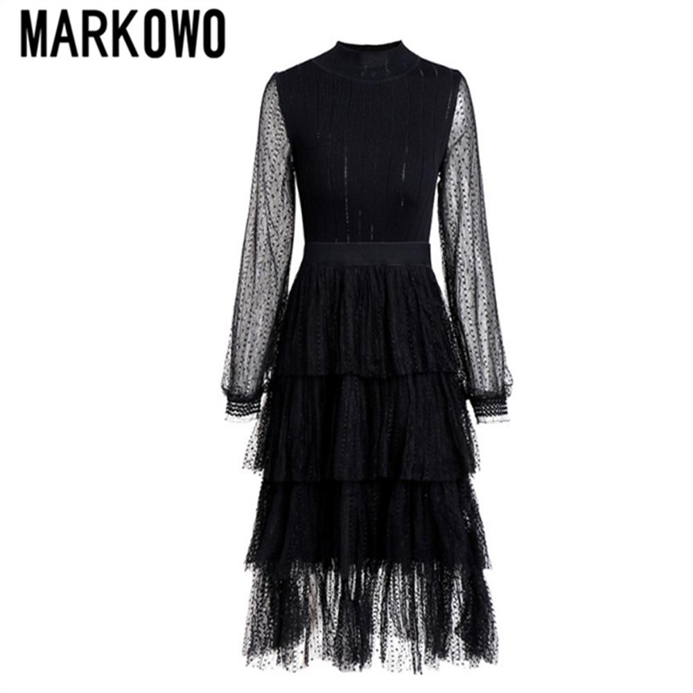 MARKOWO Desinger-فستان صيفي نسائي جديد لربيع 2020 ، أزياء نسائية ، قصة شبكية ، قصة قصة عالية ، كعكة رفيعة