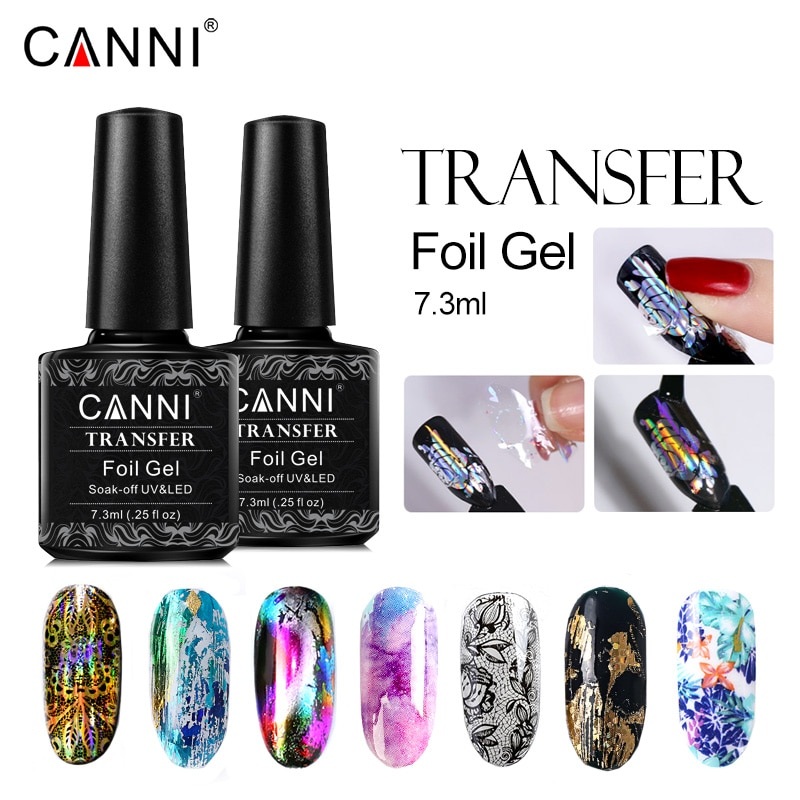 CANNI Transfer Foils Gel Nail Polish Metal Color Varnish UV LED Gel Lacquer Star Glue Stamp Gel Foils Bling Nail Art Decoration