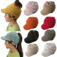 2019 유럽과 미국의 가을과 겨울 니트 모자, 말꼬리 모자, 오리 혀 중공 모자 여성 모자 크로 셰 뜨개질 따뜻한 모자