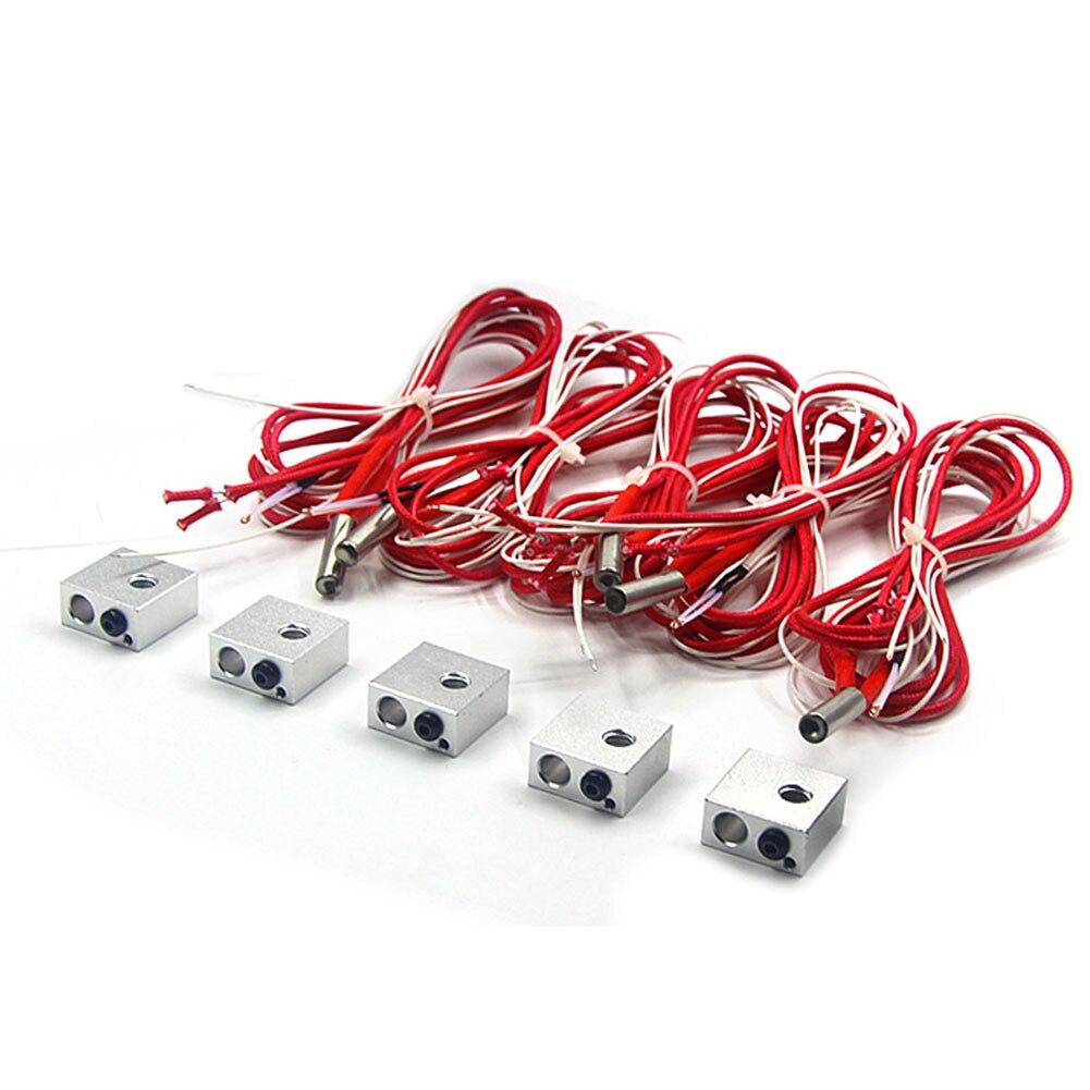 MK8 12V40W tubo de calefacción bloque de garganta Durable piezas de impresora 3D herramienta de repuesto de aluminio profesional Kit de extremo caliente portátil