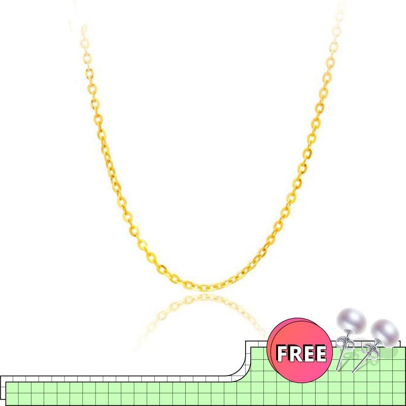 [NYMPH] cadena de oro rosa amarillo y blanco genuino de 18K, precio de venta, collar de oro puro, el mejor regalo para mujeres [G1001]