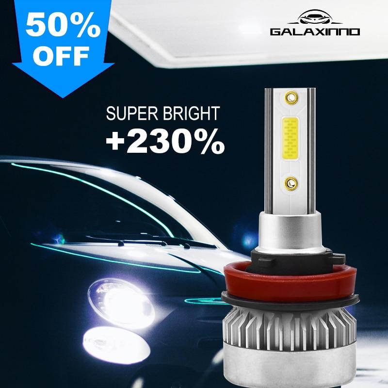 Светодиодные Автомобильные фары H8, H9, H11, ультраяркие Автомобильные противотуманные фары 360 градусов, лампы 6000K, комплект белых ламп высокой ...