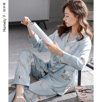 Pajamas WOMEN'S Spring Summer Silk Ice Silk Long Sleeve Clothing Spring and Autumn Imitated Silk Fabric Thin Two-Piece Suit
