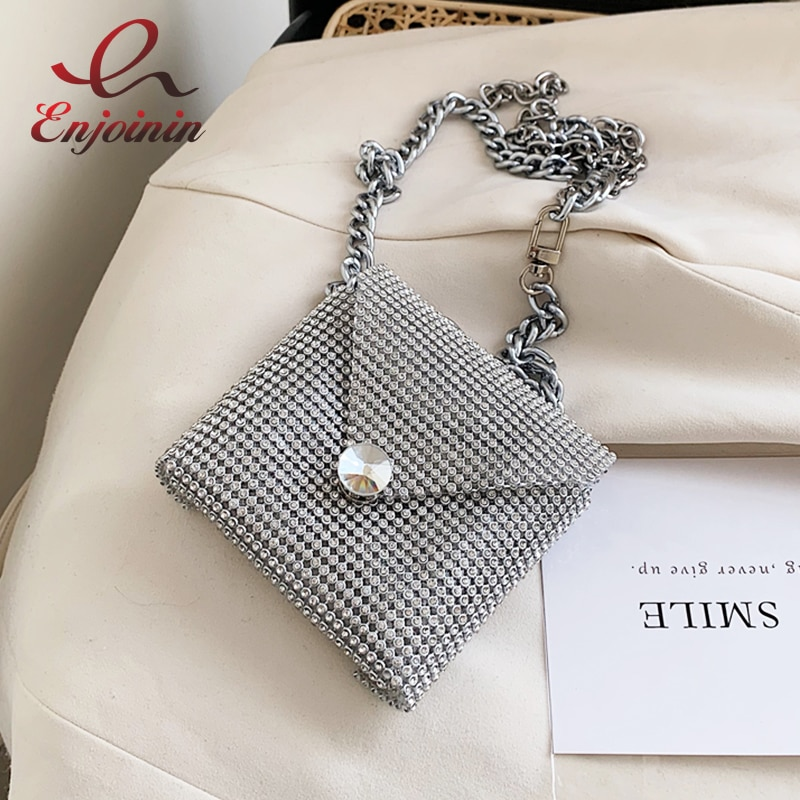 Mini bolso de mano de fiesta de moda de diamante para mujer, bolsos y bolsos de hombro, bolso de cadena, bolso de diseñador, bolso de noche para chica, bolsa Bosla