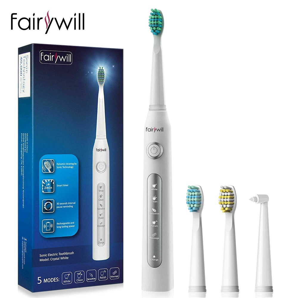 Fairywill Ultrasonic Automatic Electric Toothbrush Rechargeable Smart Timer USB Fast Charging  5 Modes 3 Replacement Brush Heads 10 modes automatic sonic electric toothbrush rechargeable usb charger ultrasonic teeth brush for adults 5 10 replacement heads