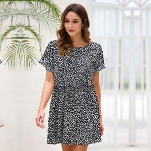 Dot A-line Summer Cascading Ruffle Above Knee, Mini Short O-neck Streetwear Natural Regular Vestidos