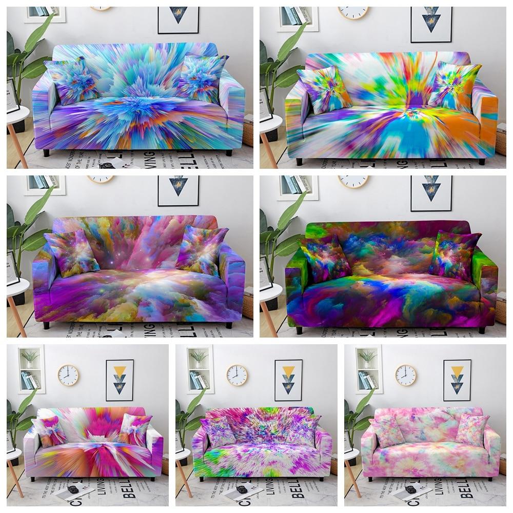 Эластичный чехол для дивана, эластичный чехол для гостиной, с рисунком звезды, неба, цветных облаков, секционный чехол для кушетки