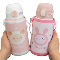 7 colors 450ml cartoon stainless steel straw thermos mug with case portable kids vacuum flask children thermal bottle thermocup