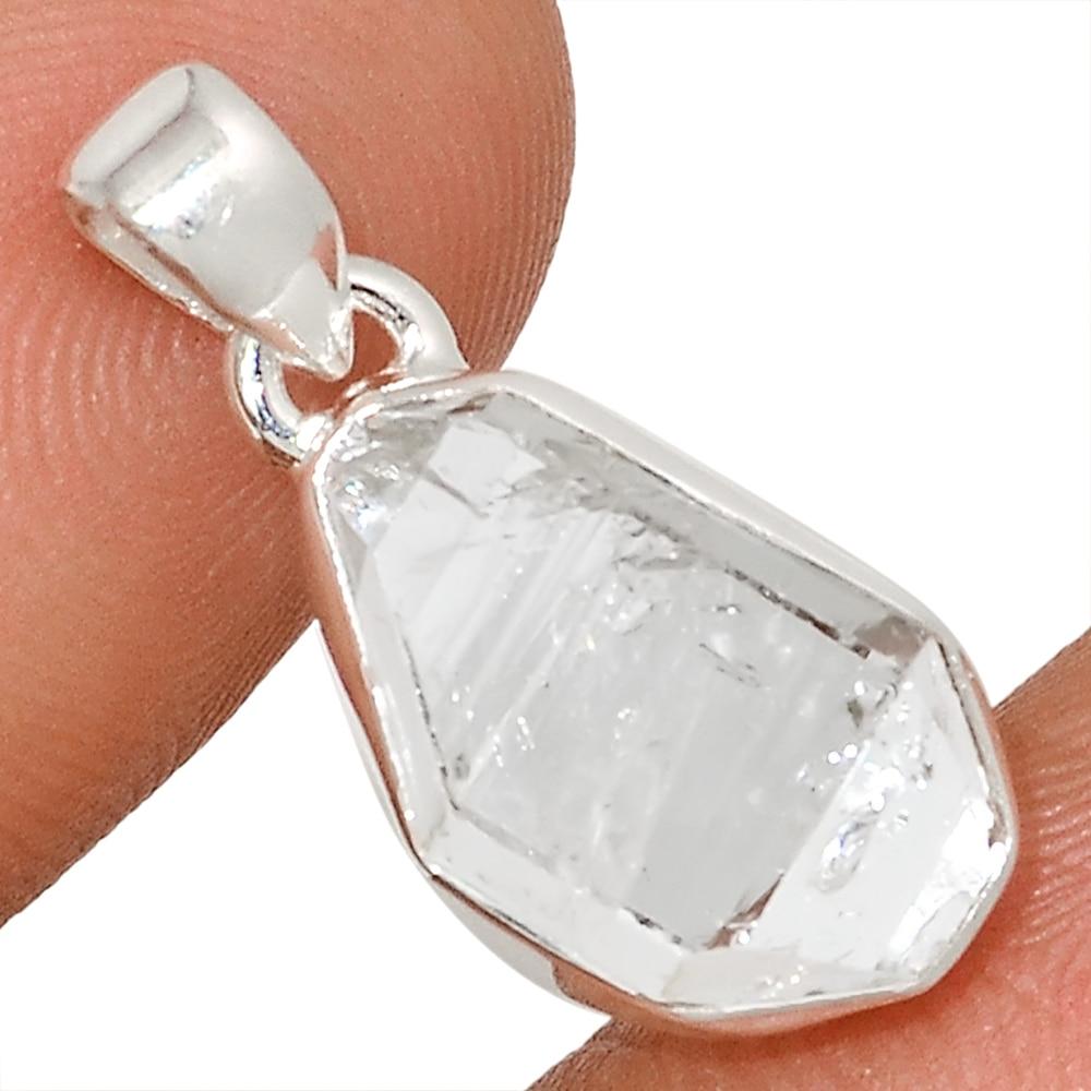 Genuine  Herkimer Diamond   Pendant 925 Sterling Silver, Total Length : 25.9 mm, AP6924