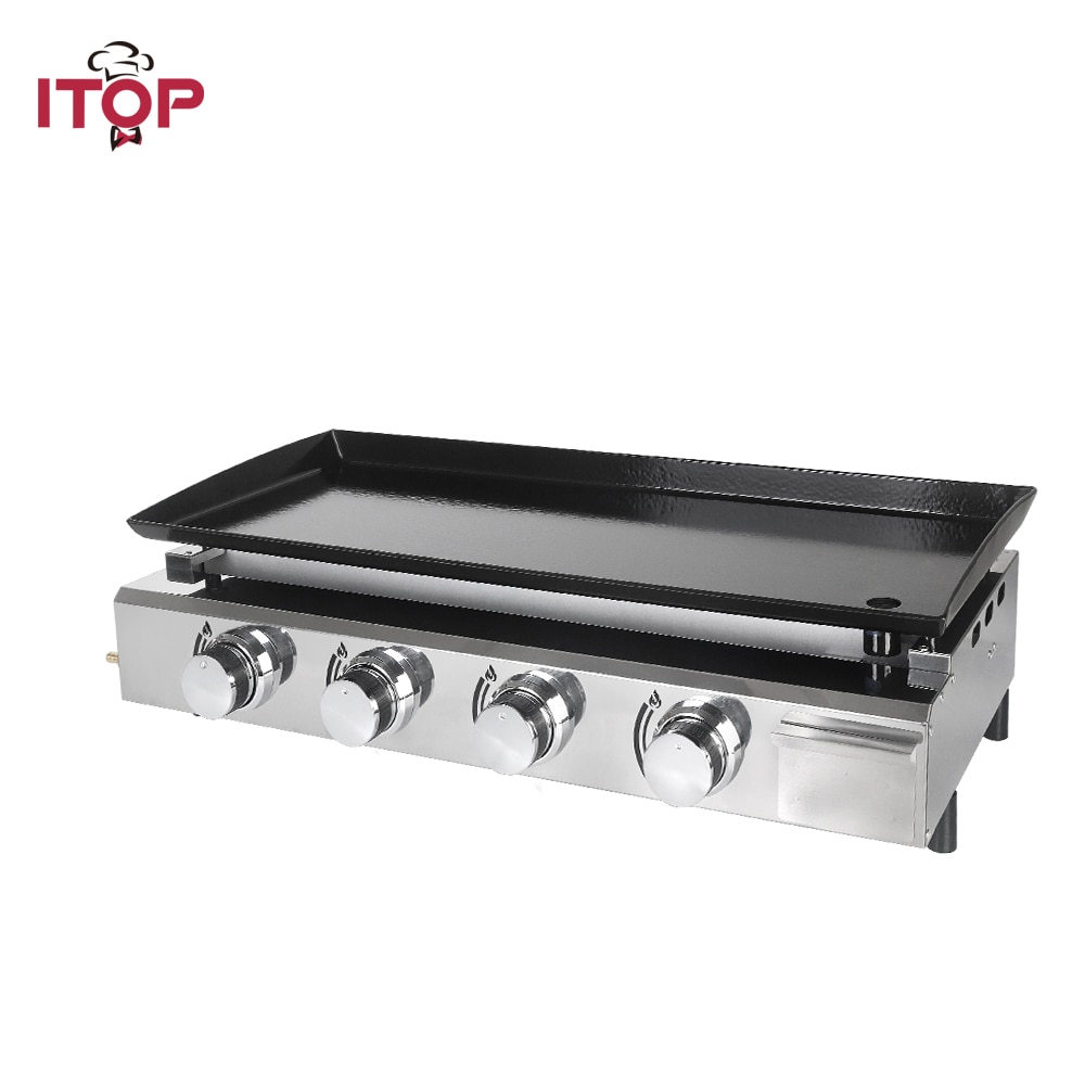 ITOP-Parrilla de barbacoa con 4 quemadores, herramientas de exterior para barbacoa, placas...