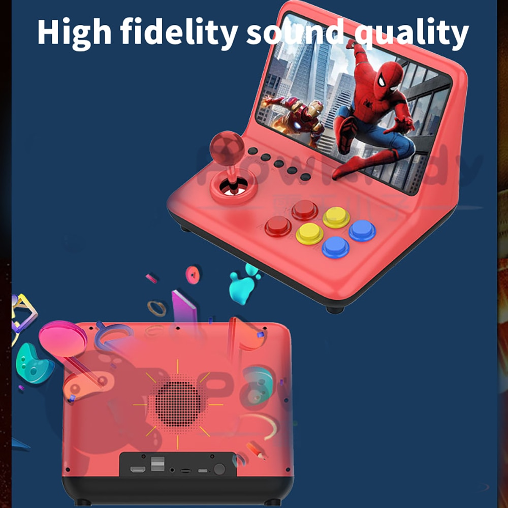 POWKIDDY A12 9 inch Arcade Joystick Game Console 32GB 2000 Games Stick Gaming Video Gamepad 1024*600 Resolution 9 Languages enlarge