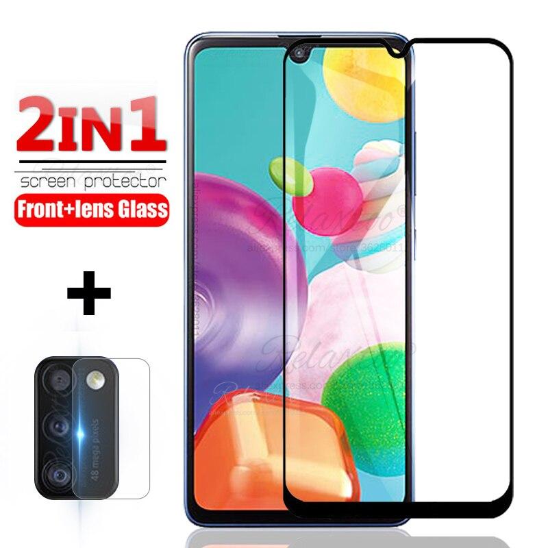 2 en 1, cristal templado de cobertura completa para samsung A01 A31 A41 A015F A315F A415F, protector de pantalla A 01 31 41, lente de cámara protectora de vidrio