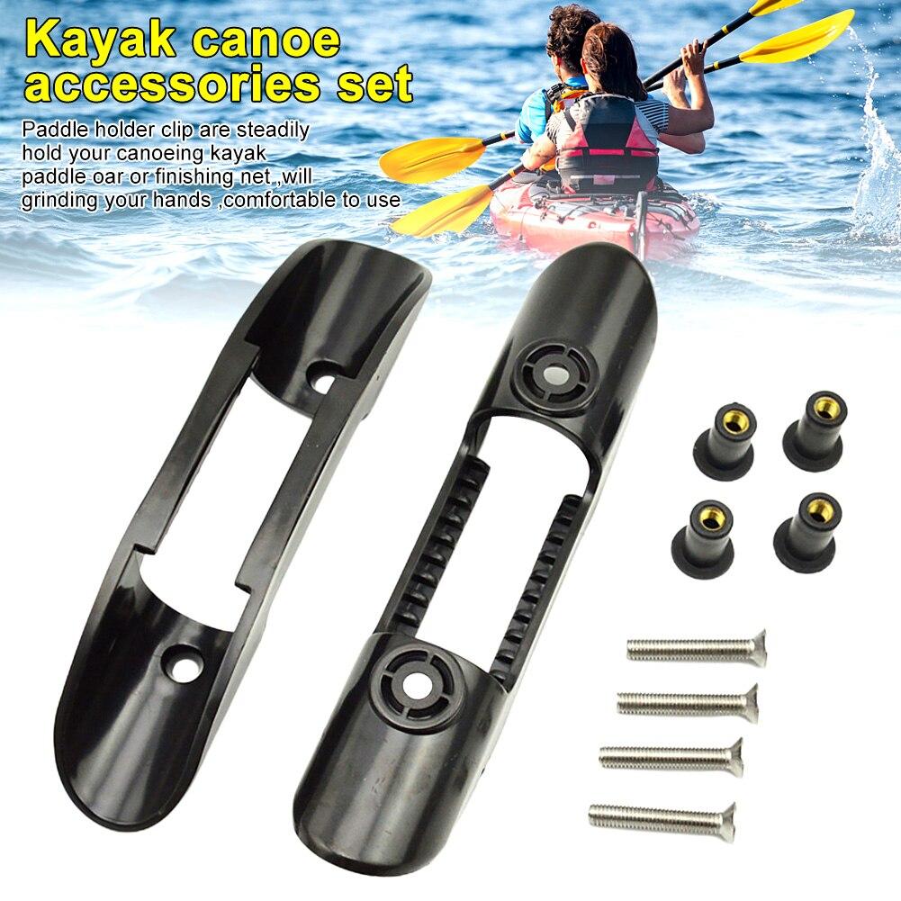 Correas de seguridad ajustables para ciclismo Kayak Paddle Holder Set Hardwre Universal al aire libre con tornillos de fácil instalación Clips montados en cubierta